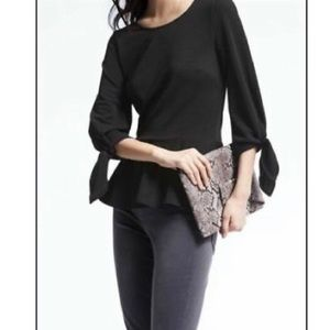 Banana Republic tie-sleeve crepe top